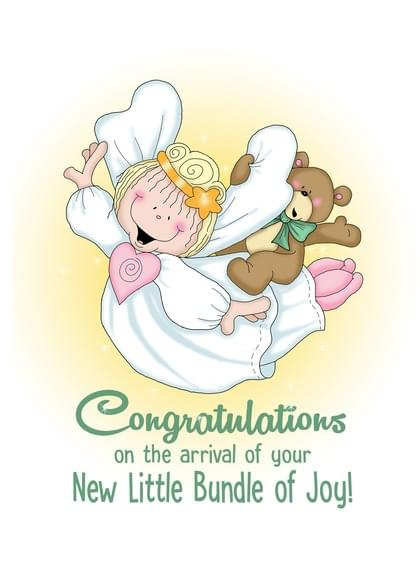 Send a Teddy Bears New Baby Card with your own Handwriting. Signed, sealed, delivered at no extra cost! Quality cards made in the USA. Designed by Annie Things Possible.