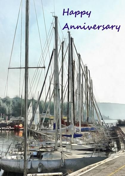 Send a Sailboats Anniversary (Any) Card with your own Handwriting. Signed, sealed, delivered at no extra cost! Quality cards made in the USA. Designed by Dorothy Berry Lound.