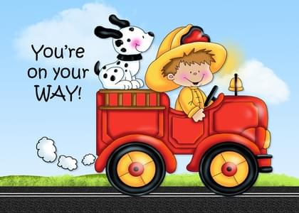 Send a Dalmations and Fire Trucks Congratulations Card with your own Handwriting. Signed, sealed, delivered at no extra cost! Quality cards made in the USA. Designed by Annie Things Possible.