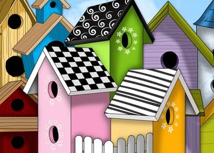 """Send this """"Birdhouses"""" New Home card w/ your own handwriting by mail directly from Signed. No need to leave your house. Do it all online for $7.99!"""