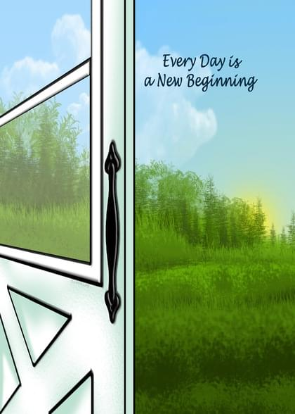 """Send this """"Doors and Horizons"""" Inspirational card w/ your own handwriting by mail directly from Signed. No need to leave your house. Do it all online for $7.99!"""