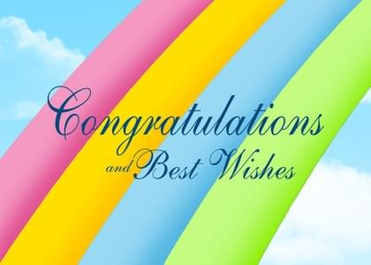 Send a Rainbows Congratulations Card with your own Handwriting. Signed, sealed, delivered at no extra cost! Quality cards made in the USA. Designed by Annie Things Possible.