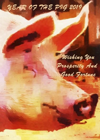 Send a Pigs and Chinese Themed Chinese New Year Card with your own Handwriting. Signed, sealed, delivered at no extra cost! Quality cards made in the USA. Designed by Dorothy Berry Lound.