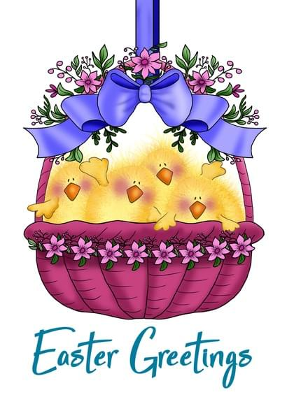 """Send this """"Easter Chicks"""" Easter card w/ your own handwriting by mail directly from Signed. No need to leave your house. Do it all online for $7.99!"""
