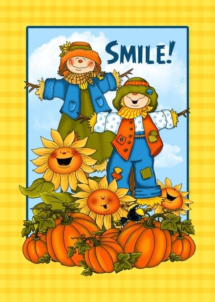 Send a Scarecrow and Pumpkins Fall Card with your own Handwriting. Signed, sealed, delivered at no extra cost! Quality cards made in the USA. Designed by Annie Things Possible.