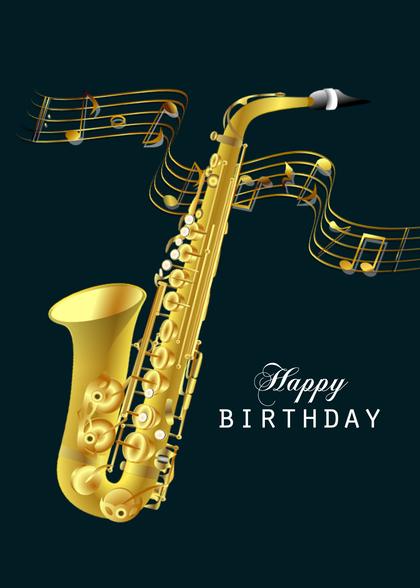 Днем рождения, открытки с саксофонистом