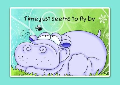 Send a Hippopotamus Have A Great Day Card with your own Handwriting. Signed, sealed, delivered at no extra cost! Quality cards made in the USA. Designed by Annie Things Possible.