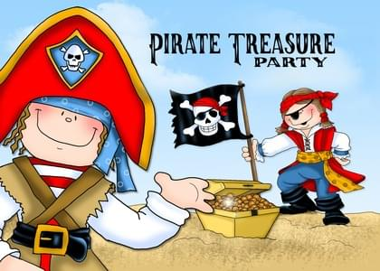 """Send this """"Pirates and Treasures"""" You're Invited/Join Us/Join Me card w/ your own handwriting by mail directly from Signed. No need to leave your house. Do it all online for $7.99!"""