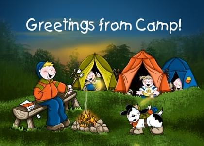 Send a Tent and Campfire Missing You Card with your own Handwriting. Signed, sealed, delivered at no extra cost! Quality cards made in the USA. Designed by Annie Things Possible.