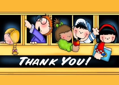 Send a Kids and School Busses Thank You Card with your own Handwriting. Signed, sealed, delivered at no extra cost! Quality cards made in the USA. Designed by Annie Things Possible.