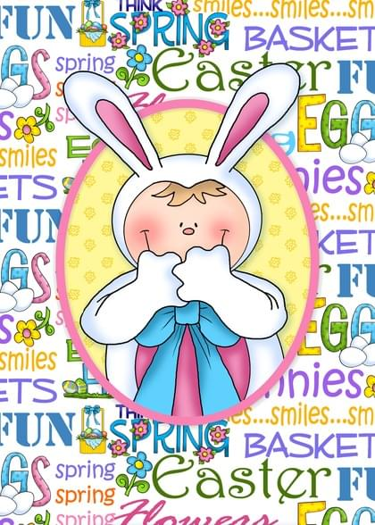 Send an Easter Bunny Easter Card with your own Handwriting. Signed, sealed, delivered at no extra cost! Quality cards made in the USA. Designed by Annie Things Possible.